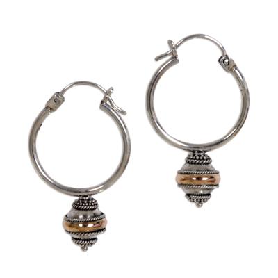 Silver and 18k Gold Hoop Earrings