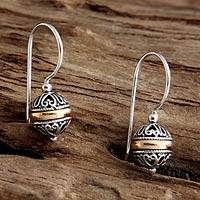 Gold accent dangle earrings, 'Lampion'