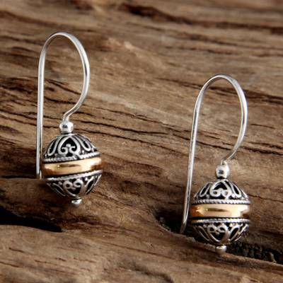 Gold accent dangle earrings, 'Lampion' - Sterling Silver and Gold Accent Dangle Earrings