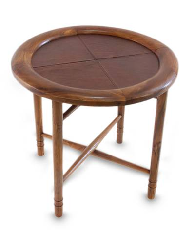 Teakwood and leather coffee table, 'Modern Malang' - Teakwood and leather coffee table