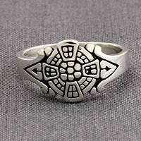 Sterling silver signet ring, 'Batavia Whisper' - Fair Trade Silver Signet Ring from Indonesia