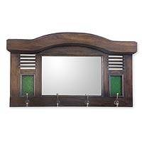 Teakwood mirror, 'Joglo' - Teakwood mirror