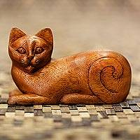Wood sculpture, 'Balinese Cat' - Wood Kitty Sculpture from Indonesia