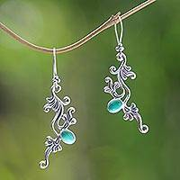 Sterling silver floral earrings, 'Denpasar Dew' - Sterling silver floral earrings