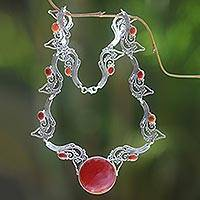Carnelian pendant necklace, 'Majapahit Empress' - Carnelian and Sterling Silver Necklace