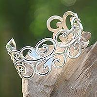 Featured review for Sterling silver cuff bracelet, Forest Fronds