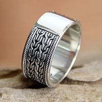 Sterling silver band ring, 'Waterfall'