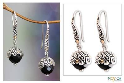 Onyx dangle earrings, 'Denpasar Belle' - Fair Trade Gold Accent and Onyx Dangle Earrings