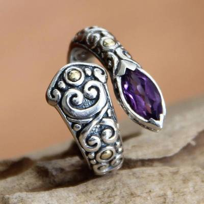 silver thumb rings - Artisan Crafted Sterling Silver an Amethyst Wrap Ring