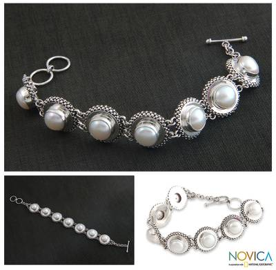 Cultured pearl link bracelet, 'Moonlit Serenade' - Hand Crafted Pearl and Silver Link Bracelet