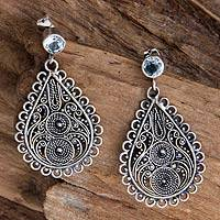 Blue topaz filigree earrings, 'Bali Dew' - Blue topaz filigree earrings