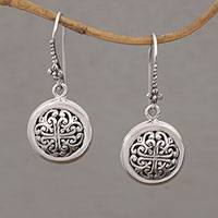 Sterling silver dangle earrings, 'Denpasar Moonbeams' - Hand Crafted Sterling Silver Dangle Earrings from Indonesia
