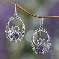 Amethyst dangle earrings, 'Dancing Swan' - Sterling Silver and Amethyst Bird Earrings