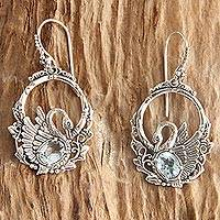 Blue topaz dangle earrings, 'Dancing Swan' - Handmade Sterling Silver and Blue Topaz Bird Earrings