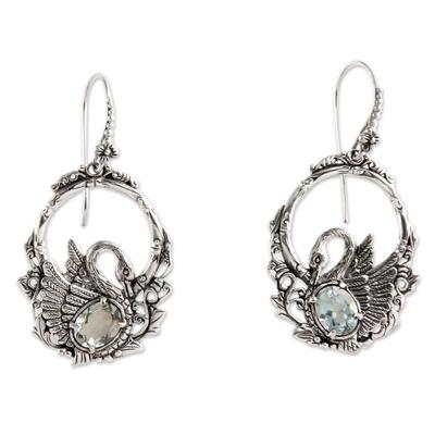 Handmade Sterling Silver and Blue Topaz Bird Earrings