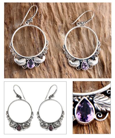 Amethyst dangle earrings, 'Moon Garden' - Handmade Sterling Silver and Amethyst Dangle Earrings