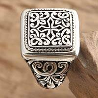 Sterling silver signet ring, 'Garden of the Cross' - Artisan Crafted Sterling Silver Signet Ring