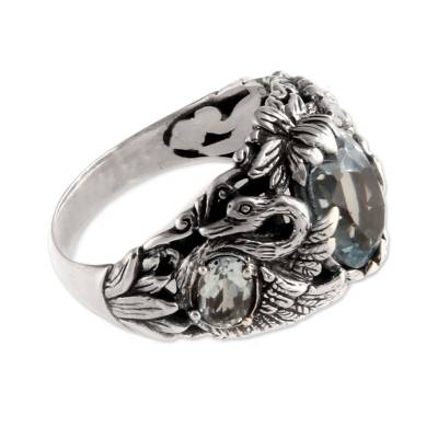 Blue topaz cocktail ring, 'Dancing Swan' - Sterling Silver and Blue Topaz Cocktail Ring