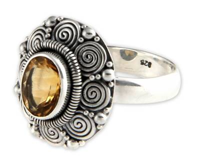 Indonesian Sterling Silver and Citrine Cocktail Ring
