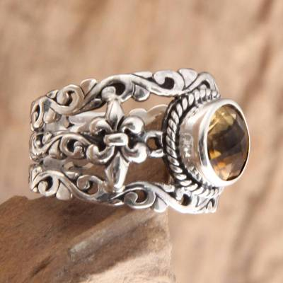 necklace extender sterling silver oval - Unique Indonesian Citrine and Silver Cocktail Ring