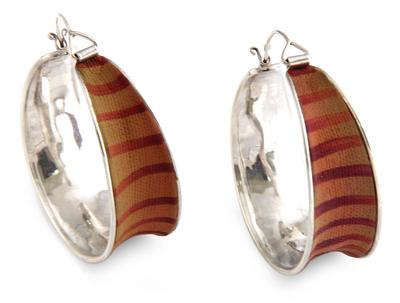 Sterling silver and polymer clay hoop earrings