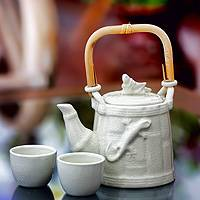 Ceramic tea set, 'Cricket and Gecko' (set for 2) - Ceramic tea set (Set for 2)