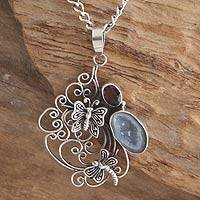 Garnet and drusy pendant necklace, 'Balinese Afternoon' - Fair Trade Sterling Silver and Drusy Butterfly Necklace