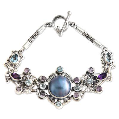 Ornate Cultured Pearl Gemstone Sterling Silver Pendant Bracelet