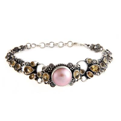 Sterling Silver Citrine and Dyed Pink Freshwater Pearl Pendant Bracelet