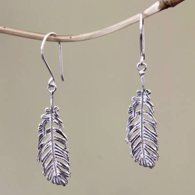 Sterling silver dangle earrings, 'Dove Feathers' - Sterling silver dangle earrings