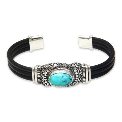 Sterling Silver and Reconstituted Turquoise Cuff Bracelet