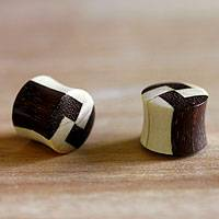 Wood ear plugs, 'Mosaic' - Wood ear plugs