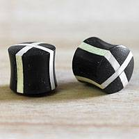 Wood ear plugs, 'Crossroads' - Wood ear plugs
