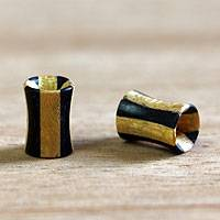 Wood ear plugs, 'Natural Duality' - Wood ear plugs
