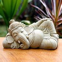 Sandstone sculpture, 'Ganesha in Repose' - Hindu Sandstone Sculpture
