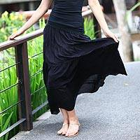 Long peasant skirt, 'Tropical Black' - Peasant Skirt Handmade in Indonesia