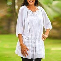 Pin tuck long tunic, 'Sheer Java Cloud' - Pin tuck long tunic