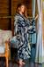 Tie-dyed rayon robe, 'High Energy' - Women's Kimono Style Tie-dye Robe on Blue and Cream thumbail