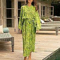 Batik robe, 'Emerald Forest'