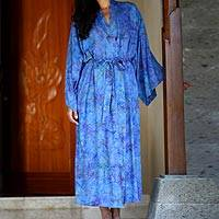 Batik robe, 'Blue Anemone' - Floral Patterned Robe