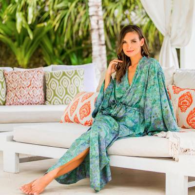 Batik robe, 'Misty Javanese Forest' - Artisan Crafted Batik Robe