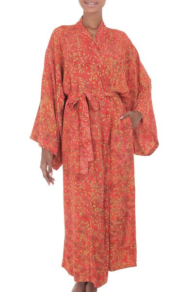 Fair Trade Red Orange Floral Batik Pattern Women
