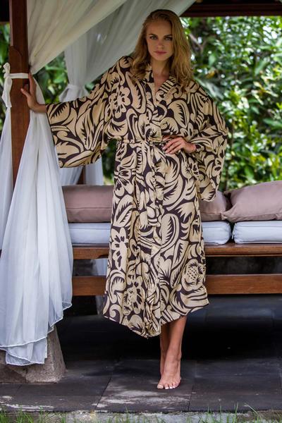 Silk robe, 'Black Hibiscus Haven' - Silk robe