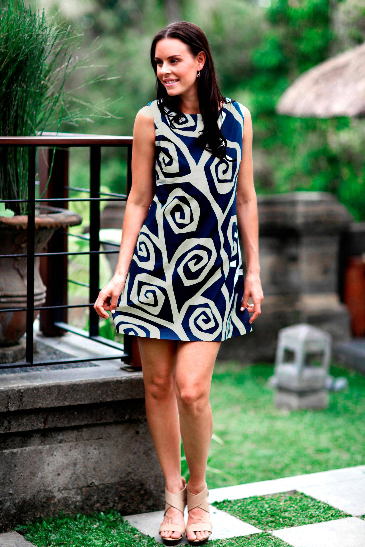 Floral Cotton Shift Dress, 'Java Roses' Blue White NOVICA Fair Trade Mini Skirt