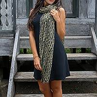 Silk batik scarf, 'Olive Mist' - Geometric Patterned Silk Scarf from Indonesia