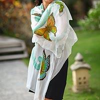 Hand painted silk shawl, 'Balinese Butterflies' - Hand Crafted Silk Painted Shawl from Indonesia