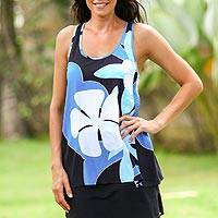 Sleeveless top, 'Blue Frangipani Garden' - Floral Painted Tank Top