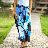 Skirt, 'Graceful Blue Plumeria' - Hand Painted Floral Maxi Skirt