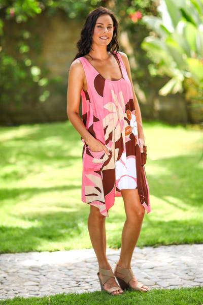 Dress, 'Harmony in Pink' - Artisan Crafted Floral Patterned Dress