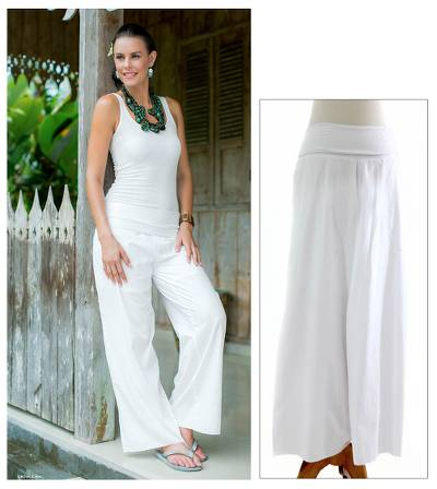 Wide cotton pants, 'Feminine Grace' - Handcrafted Solid White Caual Pants